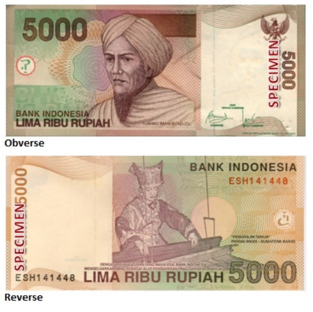 Billete de 5000 rupias indonesias IDR