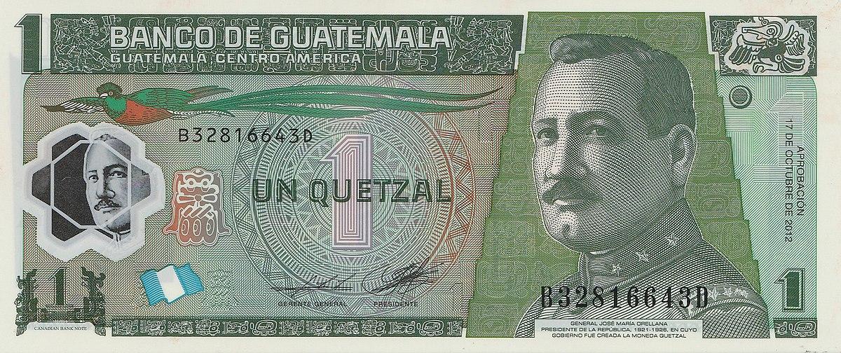 Billete de Q1 un quetzal de Guatemala