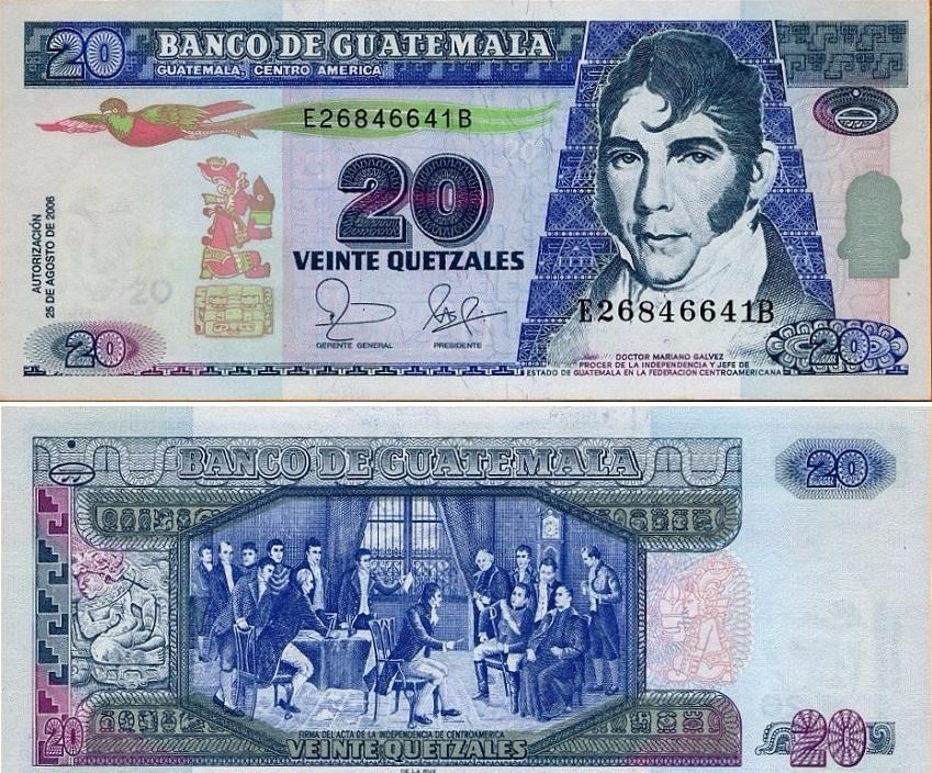 Billete de Q20 quetzales de Guatemala