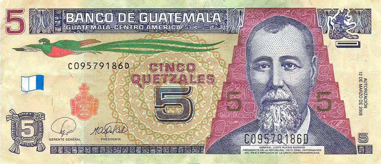 Billete de Q5 quetzales de Guatemala