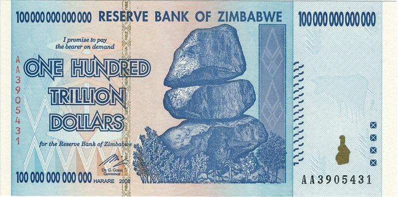 Billete de Zimbabwe de $100 trillones anverso