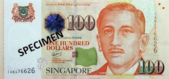 Billete de cien dólares de Singapur 100 SGD anverso