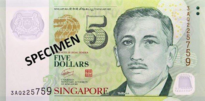 Billete de cinco dólares de Singapur 5 SGD anverso