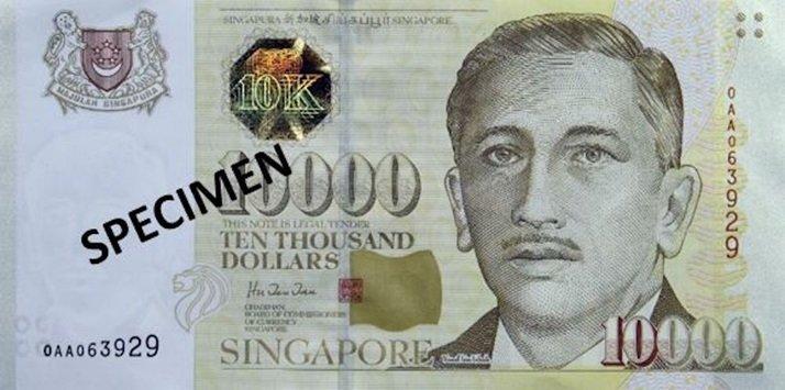 Billete de diez mil dólares de Singapur 10000 SGD anverso