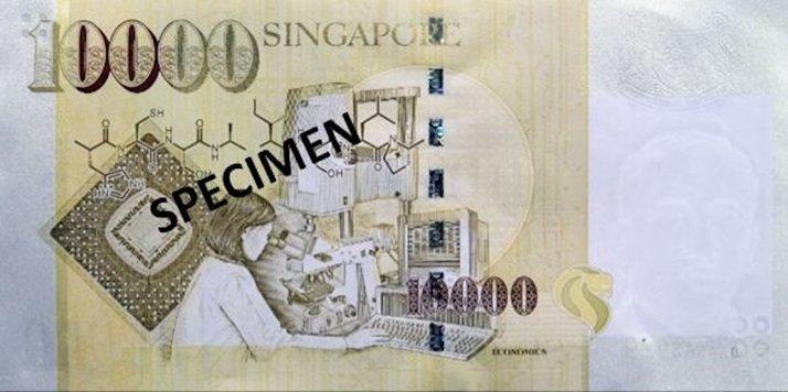 Billete de diez mil dólares de Singapur 10000 SGD reverso