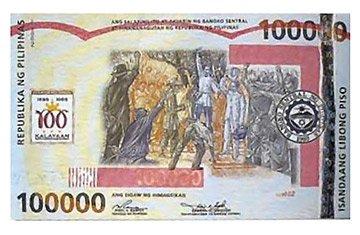 Billete más grande del mundo 100 000 pesos filipinos
