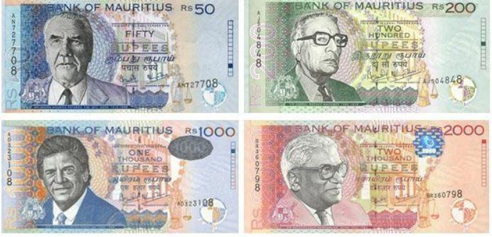 Billetes de Mauricio (rupias MUR)