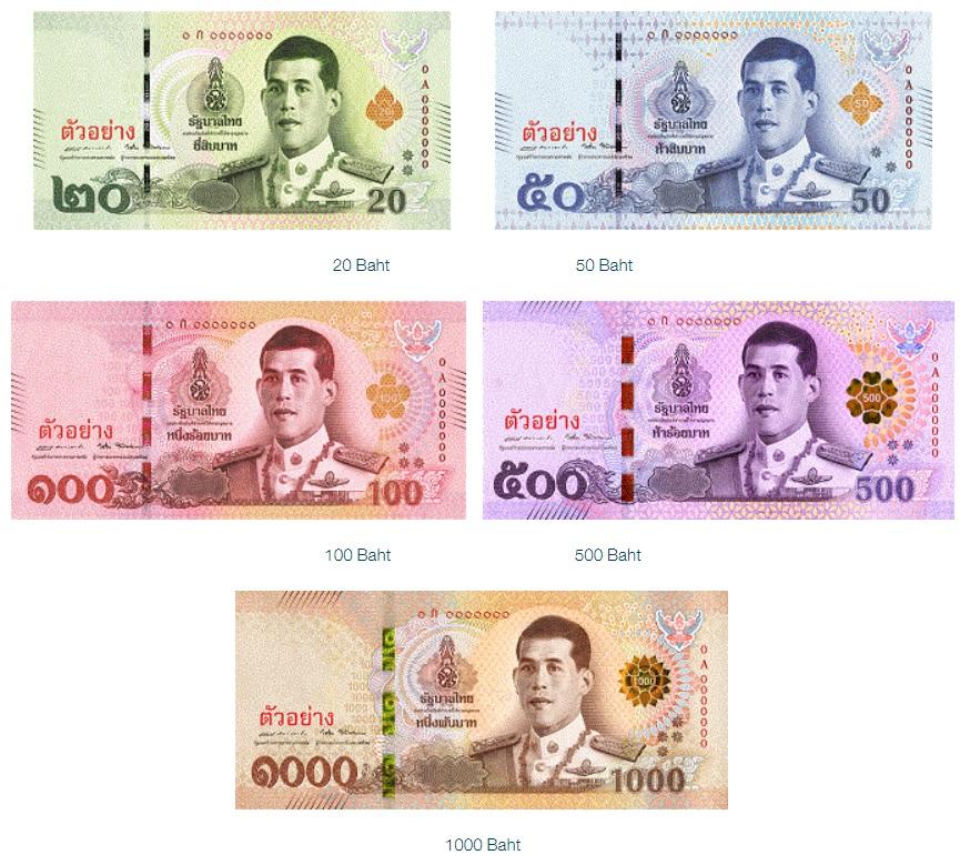 Billetes de Tailandia (Baht tailandés THB)