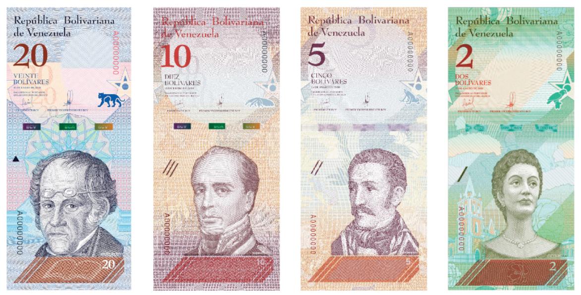 Billetes de bolivares venezolanos VEF 2