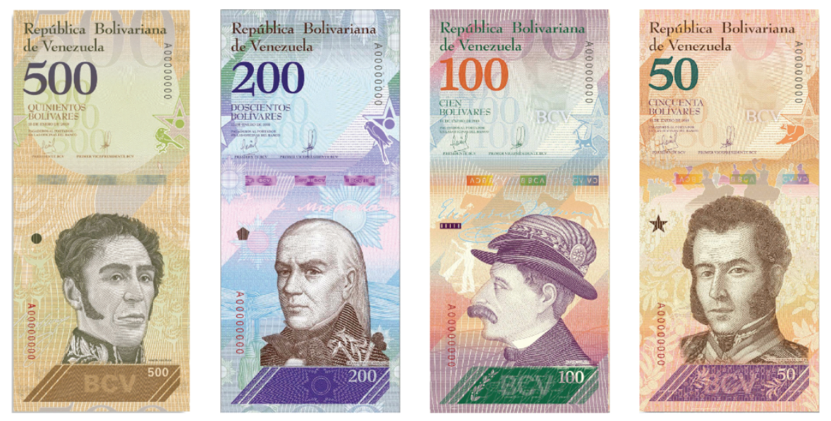Billetes de bolivares venezolanos VEF