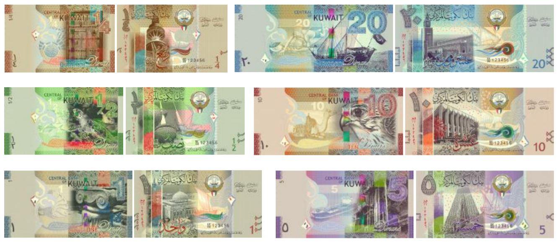 Billetes de dinares kuwaitíes sexta serie 2019