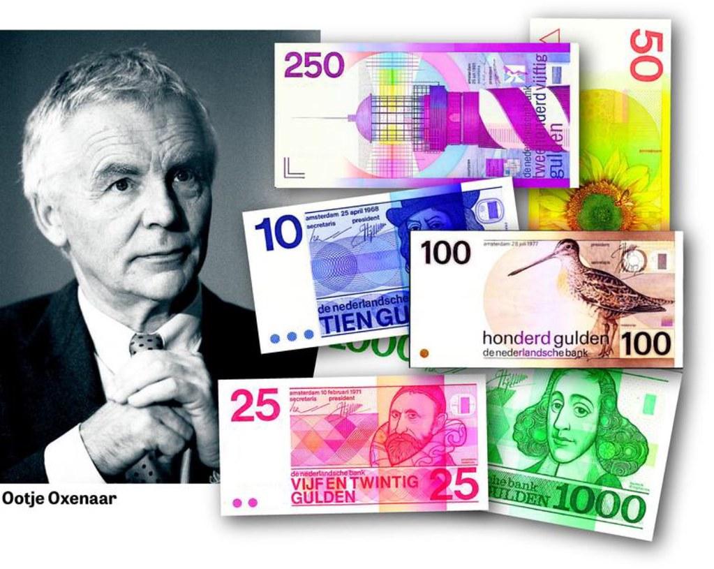 Billetes de florines neerlandeses y retrato de Ootie Oxenaar