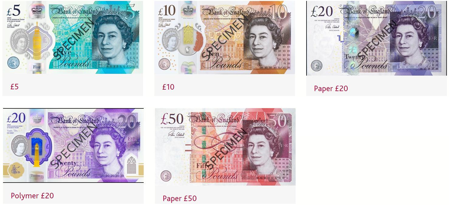 Billetes de libra 2020