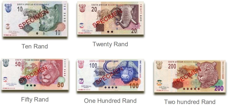 Billetes de rand sudafricano ZAR 2019