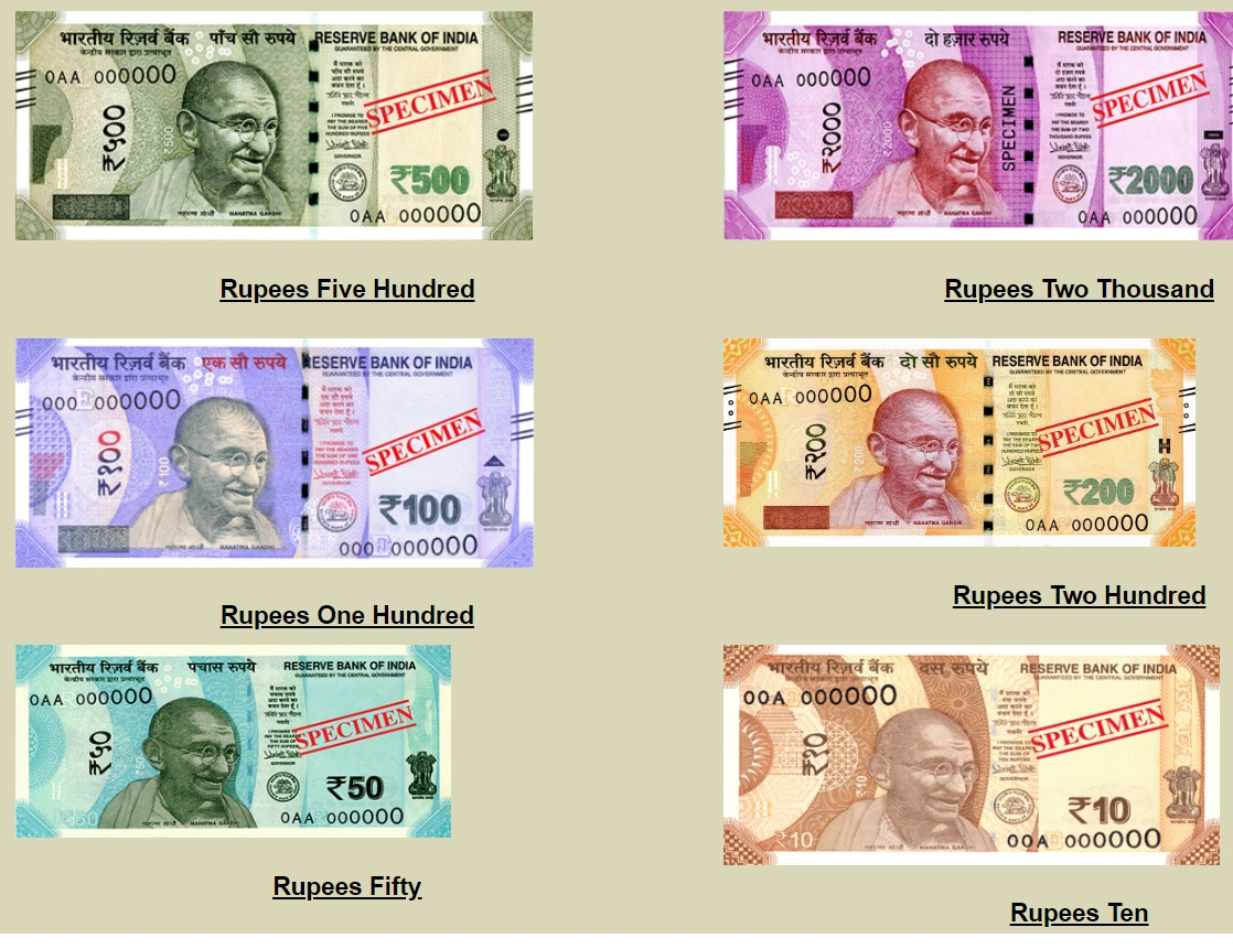 Billetes de rupia india 2020