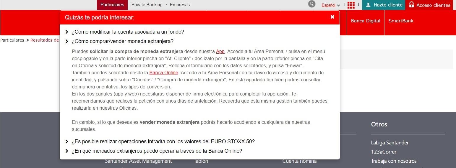 Buscador web Banco Santander