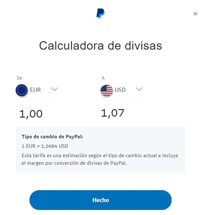 Calculadora de divisas PayPal