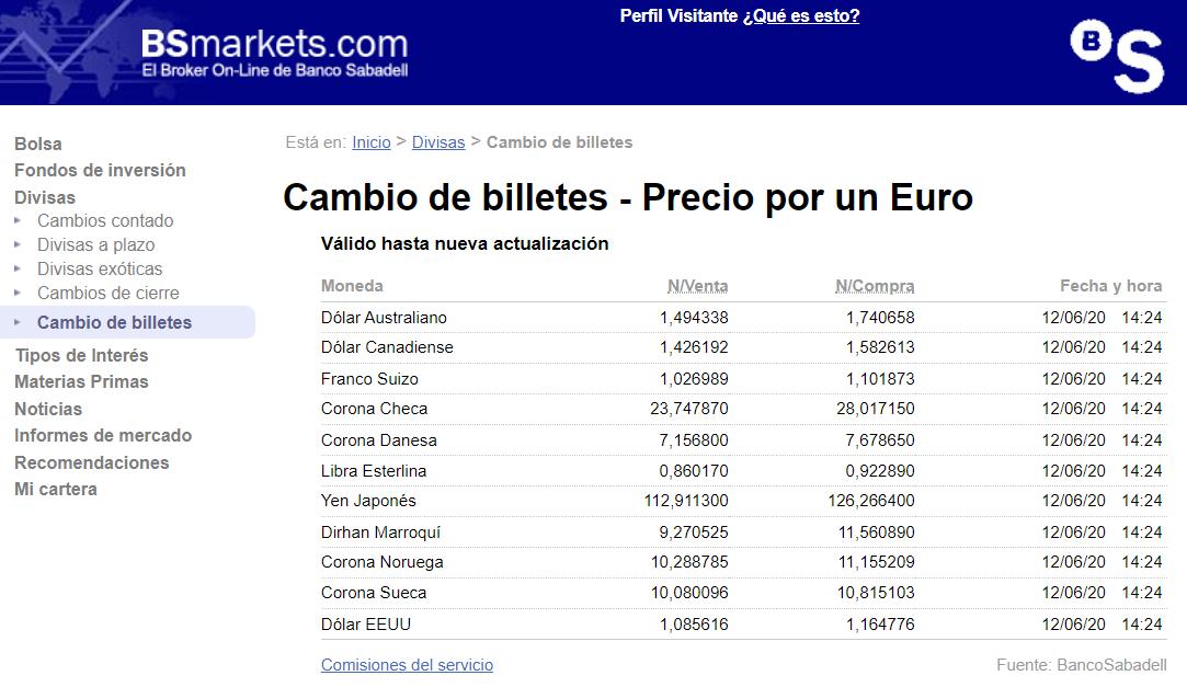 Cambio de billetes Banco Sabadell 14 06 2020