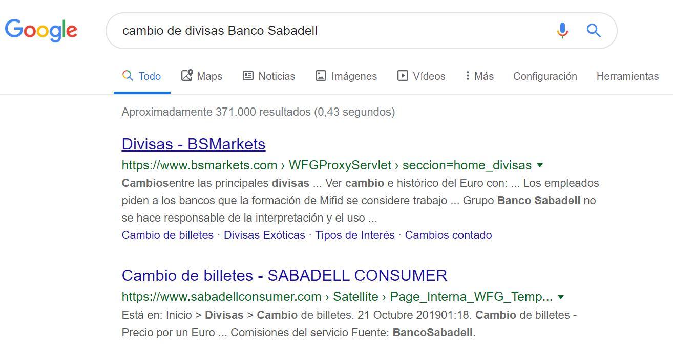 Cambio de divisas Banco Sabadell