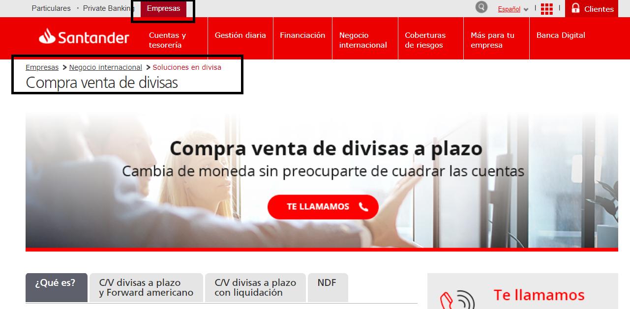 Cambio de divisas Banco Santander