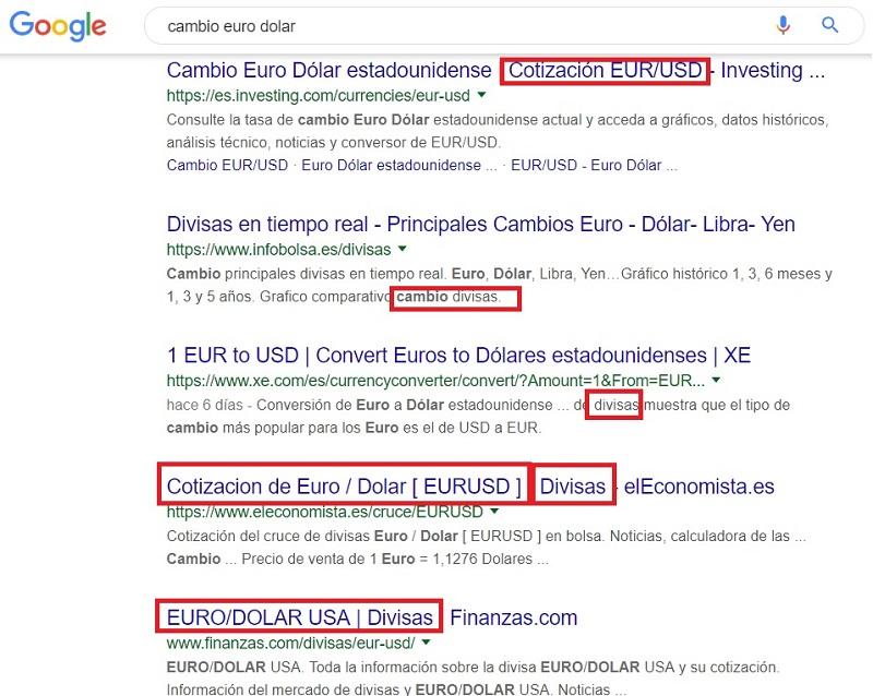 Cambio de divisas eur-usd