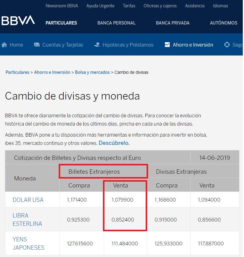 Cambio de divisas y moneda BBVA 14 06 2019