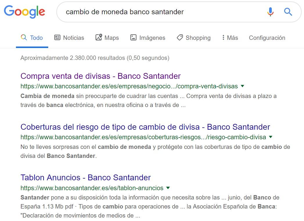 Cambio de moneda Banco Santander