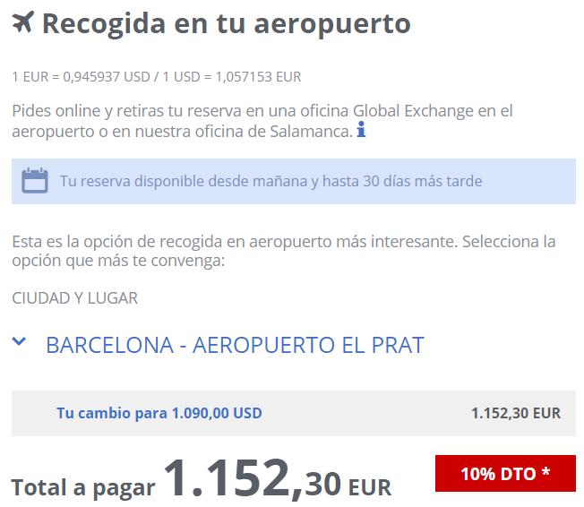 Cambio euro a dolar Global Exchange El Prat 12 08 2020
