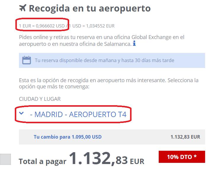 Cambio euro a dolar Global Exchange El Prat de Barcelona 13 08 2020
