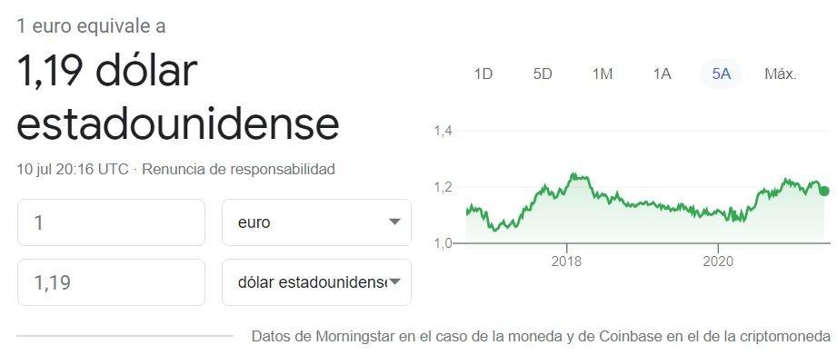 Cambio euro a dolar americano 10 07 2021