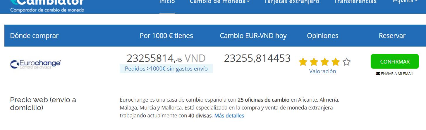 Cambio euro a dong vietnamita Cambiator julio 2020
