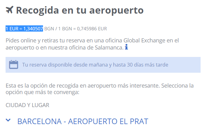 Cambio euro a lev bulgaro Global Exchange 17 08 2020
