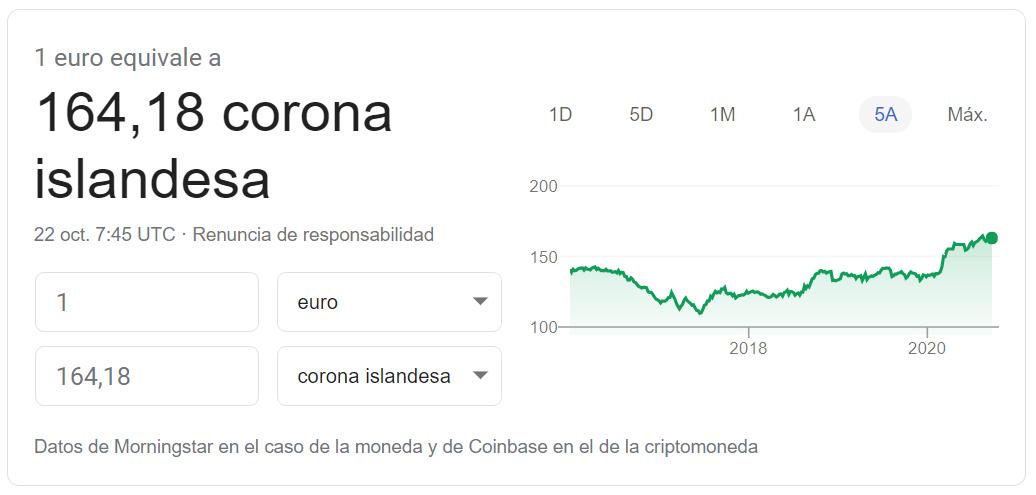 Cambio euro corona islandensa 22 20 2020
