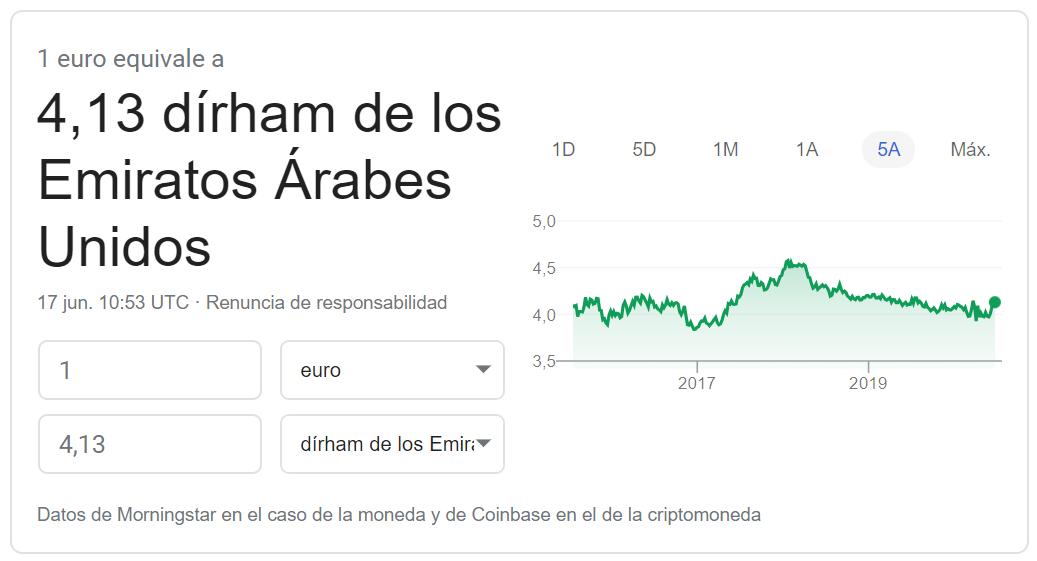 Cambio euro dírham emiratos árabes unidos