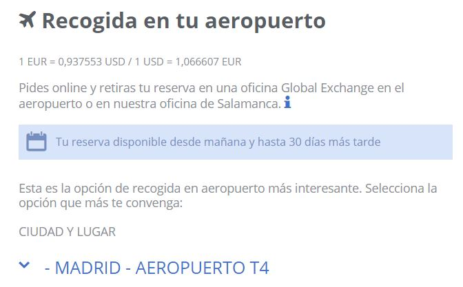 Cambio euro dolar Global Exchange T4 Barajas