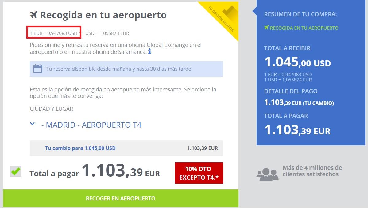 Cambio euro dolar aeropuerto Barajas T4 14 06 2019
