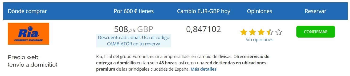 Cambio euro-libra hoy ria