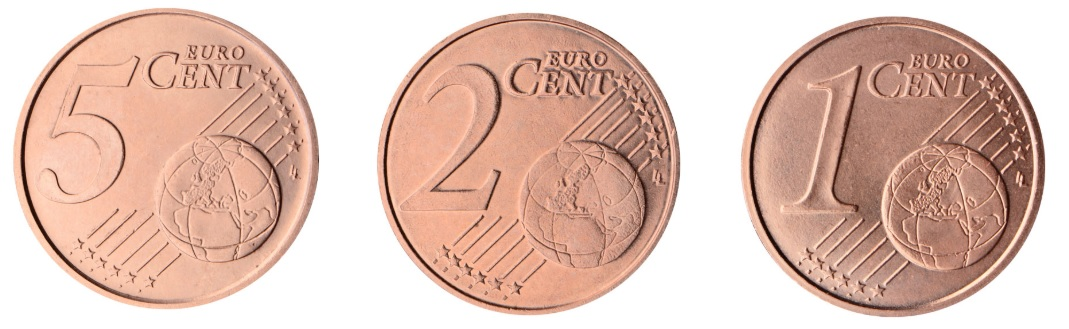 Caras comunes de monedas de 5, 2 y 1 céntimo de Euro