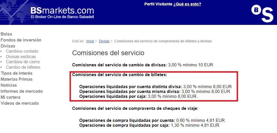 Comisión cambio de moneda Banco Sabadell