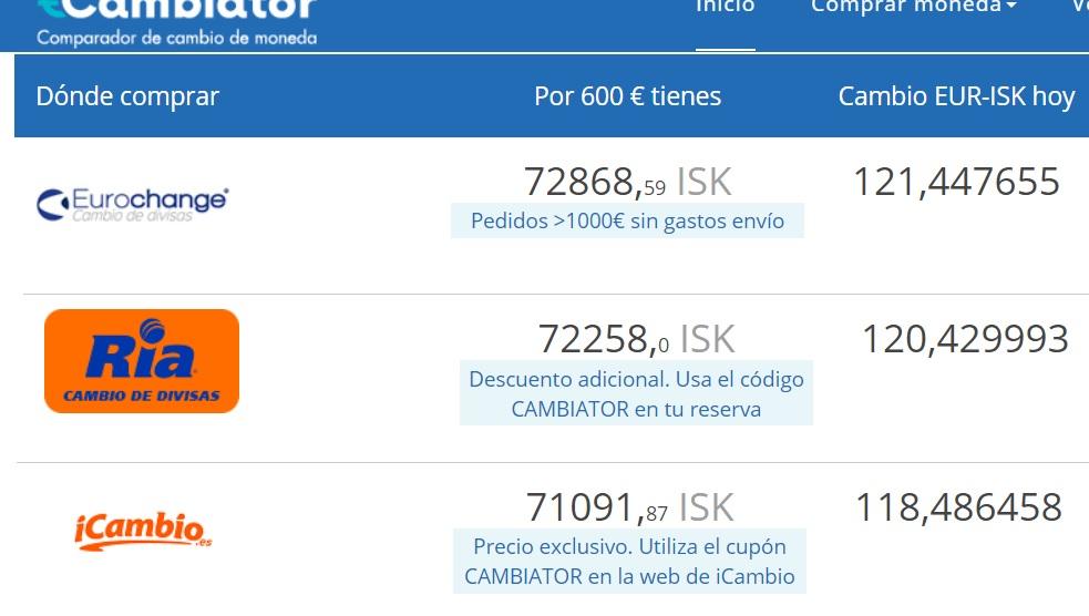 Cotización EUR-ISK 32 08 2019 Cambiator