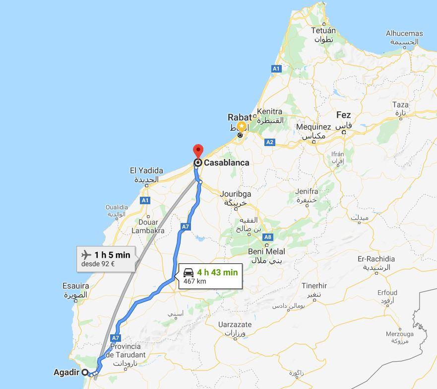 Distancia Casablanca Agadir Marruecos