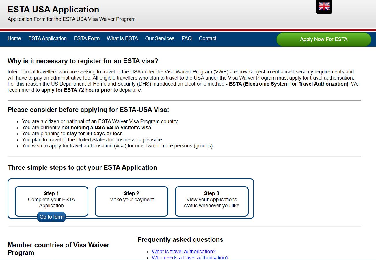 ESTA USA application