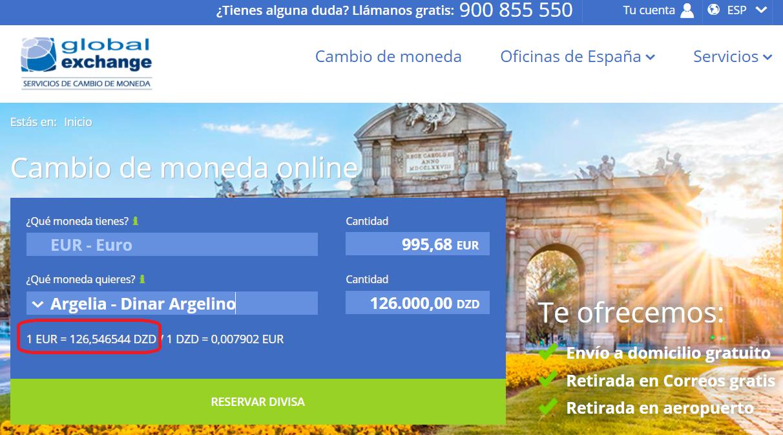 Global Exchange cambio euro a dinar argelino 19 10 2020