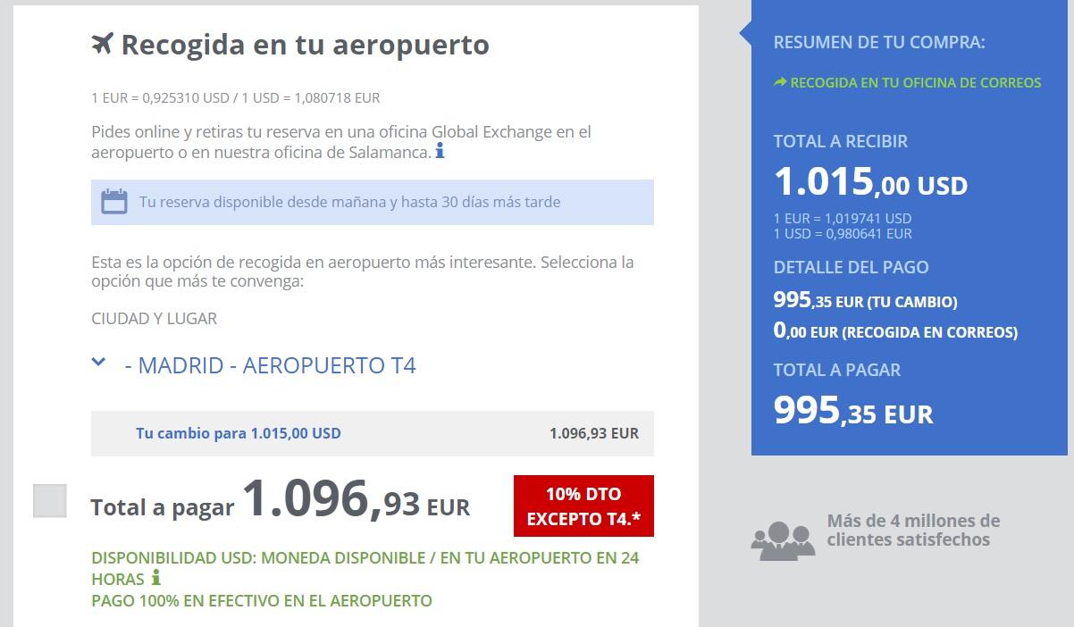 Global Exchange precios aeropuerto