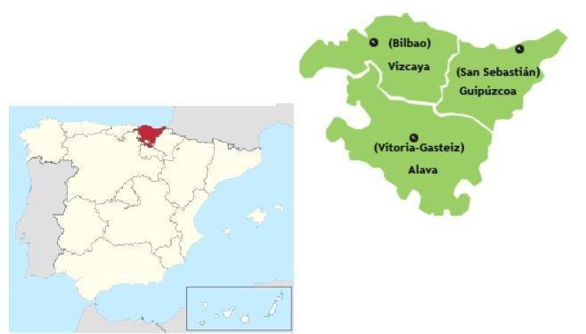 Mapa España destacando País Vasco y Vizcaya