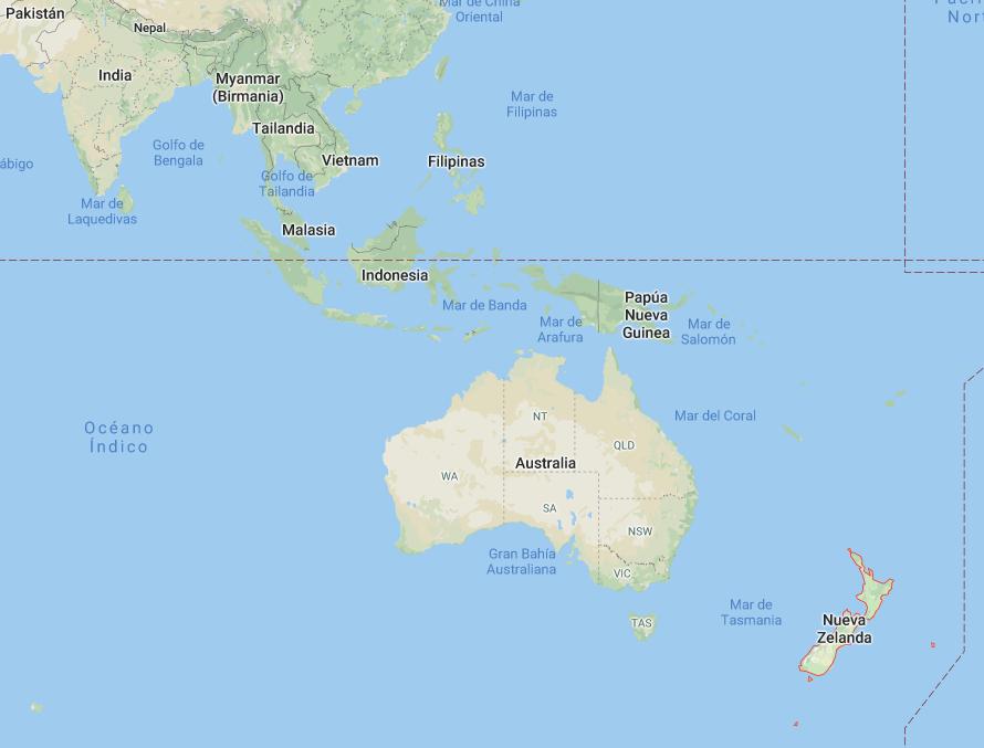 Mapa de Nueva Zelanda en el mundo
