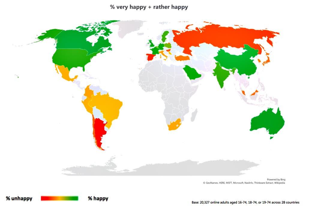Mapa de los países más y menos felices