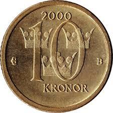 Moneda de 10 coronas suecas reverso