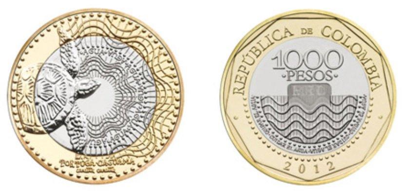 Moneda de 1000 pesos colombianos 2012 en circulación en 2019