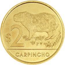 Moneda de 2 pesos uruguayos carpincho